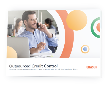 Chaser content-Outsourced credit control brochure preview with shadow